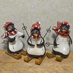 3-tlg. Figuren-Set Pinguine auf Skiern