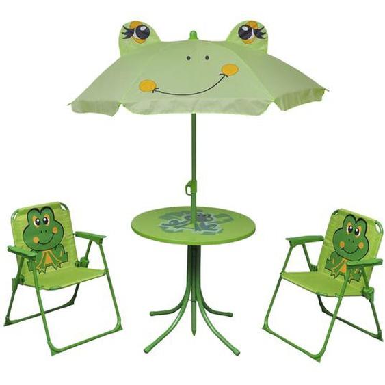 3-tlg. Garten-Bistro-Set für Kinder mit Sonnenschirm Grün