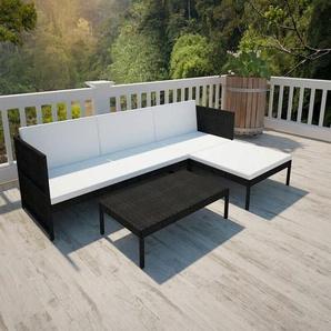 3-tlg. Garten-Lounge-Set mit Auflagen Poly Rattan Schwarz - VIDAXL