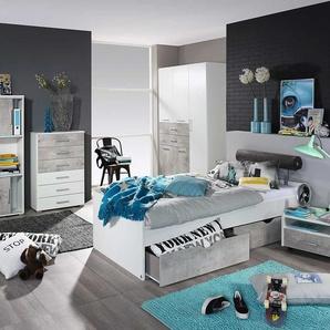 3-tlg. Jugendzimmer in alpinweiß/Beton, Kleiderschrank B:136 cm, Umbauliege mit Kopfteil 90 xm 200 cm, Nachtschrank B: 54 cm