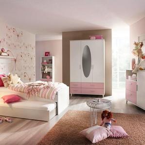 3-tlg. Jugendzimmer in Alpinweiß mit Abs. in Rosa inkl. 3-trg. Drehtürenkombischrank, Umbauliege (90 x 200 cm) mit Rollbettkasten und Roll-Nachttisch