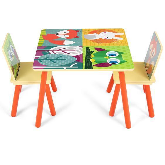 3 tlg. Kindersitzgruppe Kinderstühle und Tisch Maltisch Sitzgruppe Kindermöbel Holz