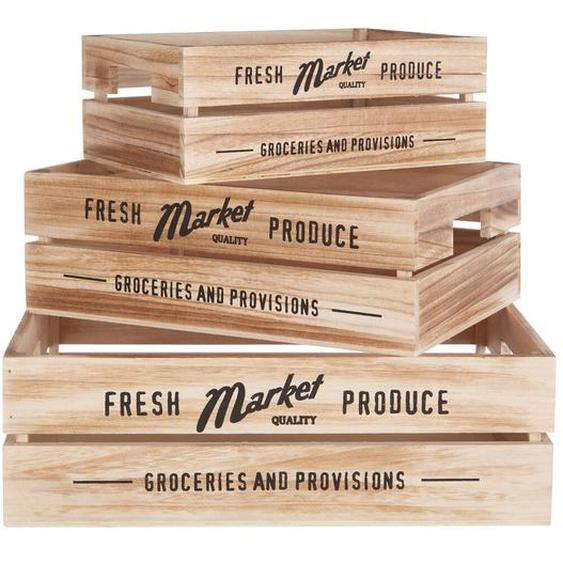 3-tlg. Kisten-Set aus Holz