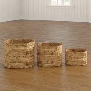 3-tlg. Korb-Set aus Korbgeflecht/Rattan