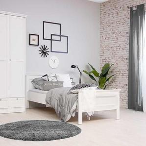 3-tlg. Schlafzimmer in weiß im Landhausstil, Kleiderschrank mit Rahmentüren B: 120 cm, Bett Liegefläche ca. 90x200 cm, Nachtkonsole B: 50 cm