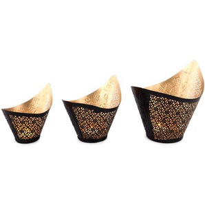 3-tlg. Teelichthalter-Set Willia aus Metall (Set of 2)