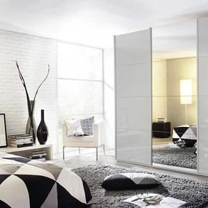3-trg. Schwebetürenschrank in Seidengrau mit Spiegeltür, 3 Einlegeböden, 3 Kleiderstangen, Maße:  B/H/T ca. 271/229/62 cm