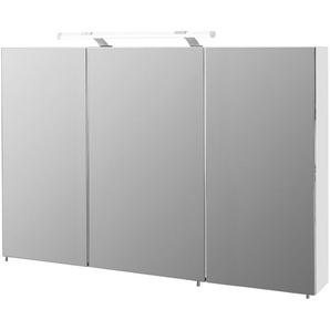 3-trg. Spiegelschrank in weiß Glanz, 6 Glasböden, inkl. LED-Beleuchtung, Maße: B/H/T ca. 120/75/16 cm