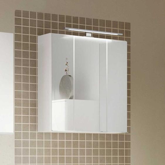 3 türiger Badspiegelschrank in Weiß LED Beleuchtung
