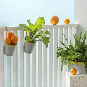 3 x  Essentials Nic Blumentoepfe mit Untersetzer, Apfelgruen