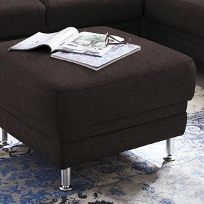 DELAVITA Polsterhocker Korfu 0, Chenilleoptik braun Hocker Nachhaltige Möbel