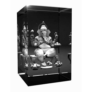 3D Glas Kristall Quader I Ganesha | Hinduismus Buddhismus Hindi Buddha graviert in einen Glaskristall Abmessungen 80x50x50mm