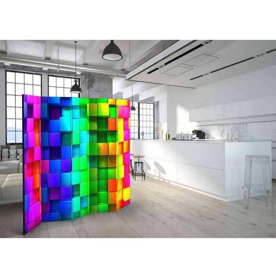 3D Trennwand mit Würfelmuster Neonfarben