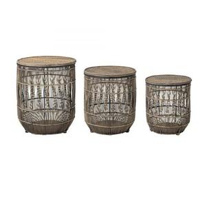 3-teiliges Beistellkörbe-Set aus Bambus in Braun