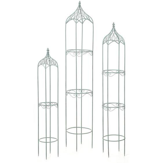 3er Set Rankhilfe HWC-H90, Rankgitter Rosens�ule Staudenst�tze, Metall H�he 162/140/114cm rund antik-gr�n