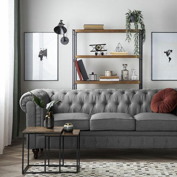 3er Sofa Polsterbezug hellgrau CHESTERFIELD groß