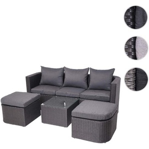 3in1-Garnitur HWC-J37, Garten-/Lounge-Set Sonneninsel, Spun Poly halbrundes Poly-Rattan ~ anthrazit, Kissen dunkelgrau