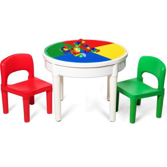3tlg. Kinder Tischset Kindersitzgruppe Spieltischset mit Staufach Mehrfarbig