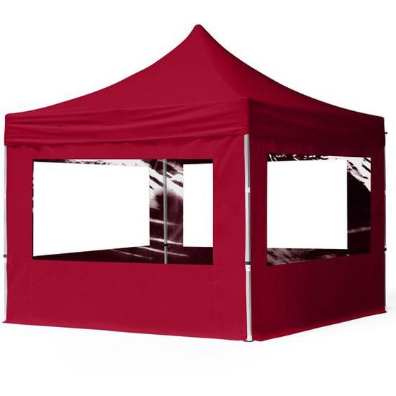 3x3 m Faltpavillon, ECONOMY Alu 32mm, Seitenteile mit Panoramafenstern, rot