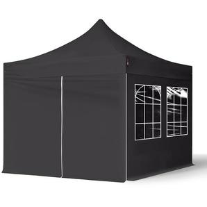3x3 m Faltpavillon ECONOMY Stahl 30 mm, Seitenteile mit Rechteckfenstern, schwarz