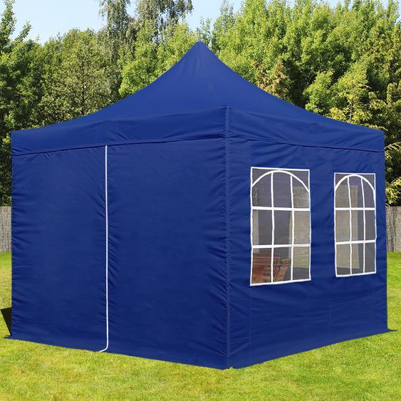3x3 m Faltpavillon, ECONOMY Stahl 30mm, Seitenteile mit Rechteckfenstern, blau