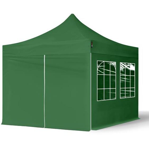 3x3 m Faltpavillon, ECONOMY Stahl 30mm, Seitenteile mit Rechteckfenstern, dunkelgrün