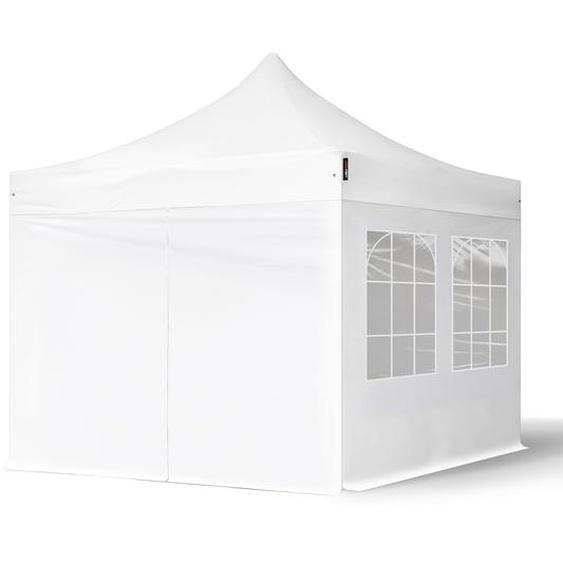 3x3 m Faltpavillon, ECONOMY Stahl 30mm, Seitenteile mit Rechteckfenstern, weiß