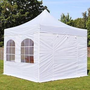 3x3 m Faltpavillon PREMIUM Stahl 32 mm, Seitenteile mit Rundbogenfenstern, weiß