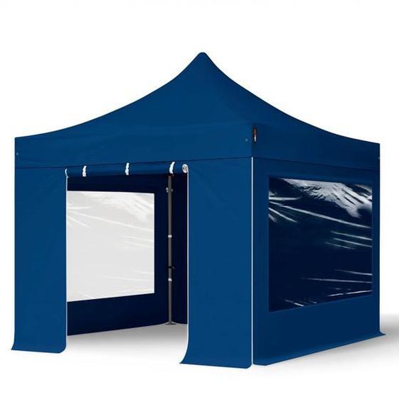 3x3 m Faltpavillon, PREMIUM Stahl 40mm, Seitenteile mit Panoramafenstern, blau