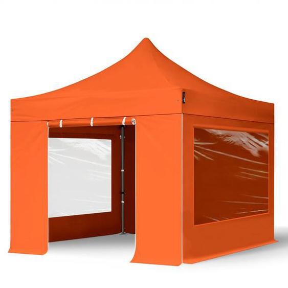 3x3 m Faltpavillon, PREMIUM Stahl 40mm, Seitenteile mit Panoramafenstern, orange