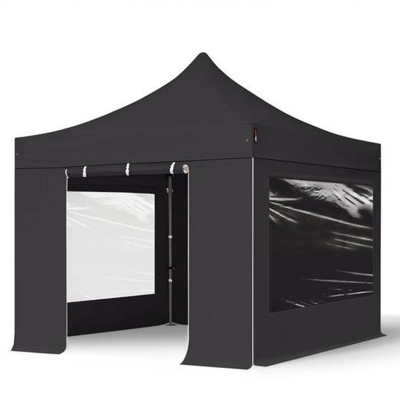 3x3 m Faltpavillon, PREMIUM Stahl 40mm, Seitenteile mit Panoramafenstern, schwarz