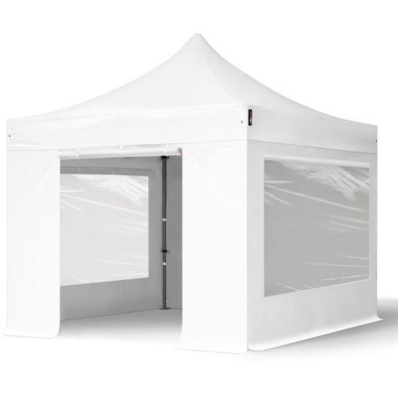 3x3 m Faltpavillon, PREMIUM Stahl 40mm, Seitenteile mit Panoramafenstern, weiß