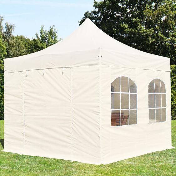3x3 m Faltpavillon, PREMIUM Stahl 40mm, Seitenteile mit Rechteckfenstern, creme