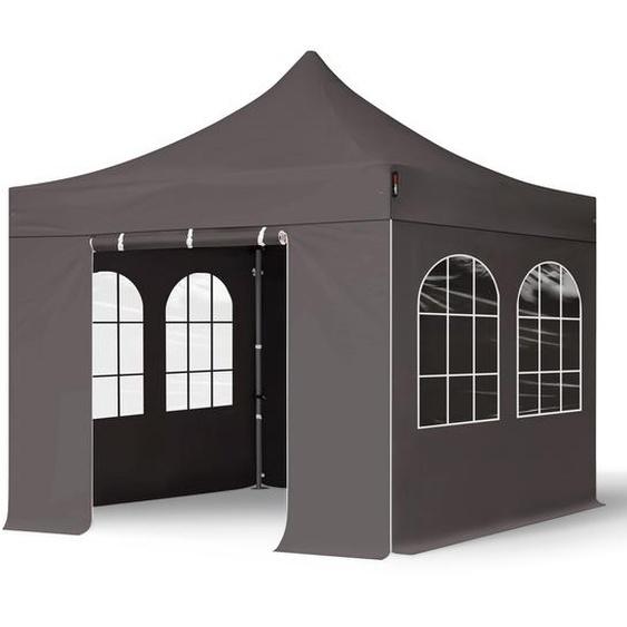 3x3 m Faltpavillon, PREMIUM Stahl 40mm, Seitenteile mit Rechteckfenstern, dunkelgrau