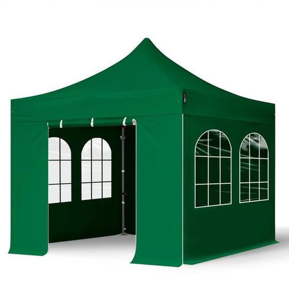 3x3 m Faltpavillon, PREMIUM Stahl 40mm, Seitenteile mit Rechteckfenstern, dunkelgrün