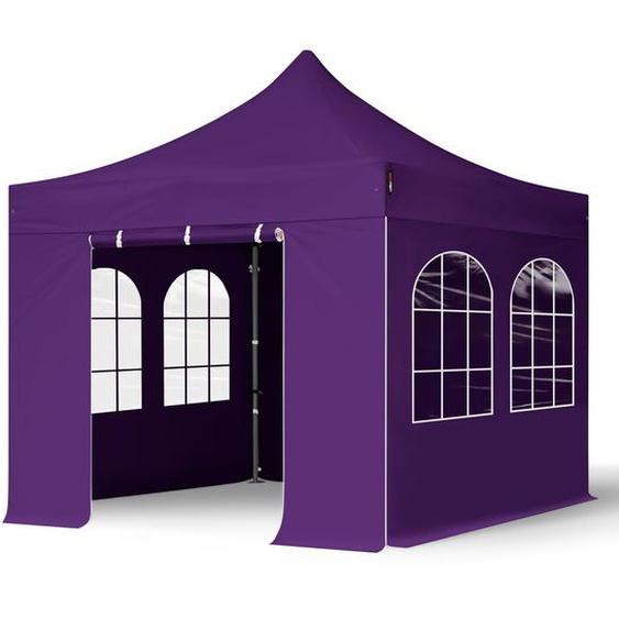 3x3 m Faltpavillon, PREMIUM Stahl 40mm, Seitenteile mit Rechteckfenstern, lila