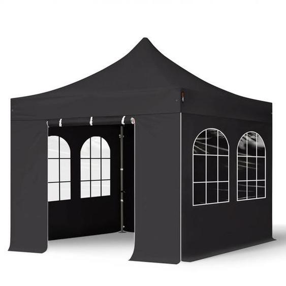 3x3 m Faltpavillon, PREMIUM Stahl 40mm, Seitenteile mit Rechteckfenstern, schwarz