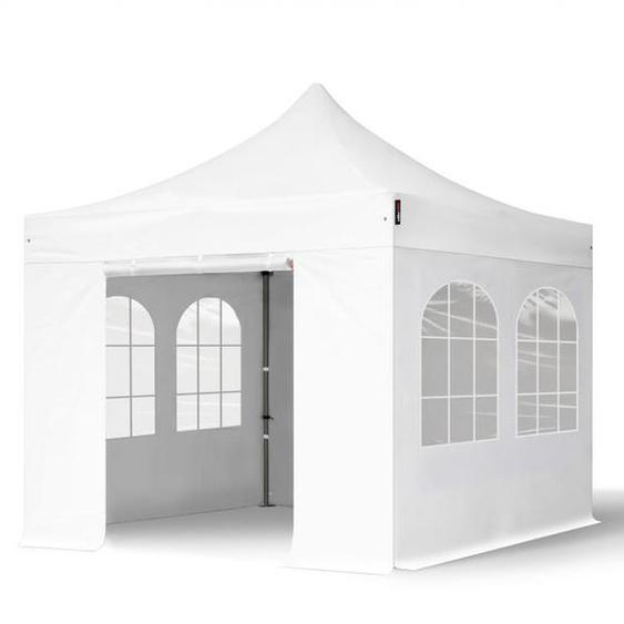 3x3 m Faltpavillon, PREMIUM Stahl 40mm, Seitenteile mit Rechteckfenstern, weiß
