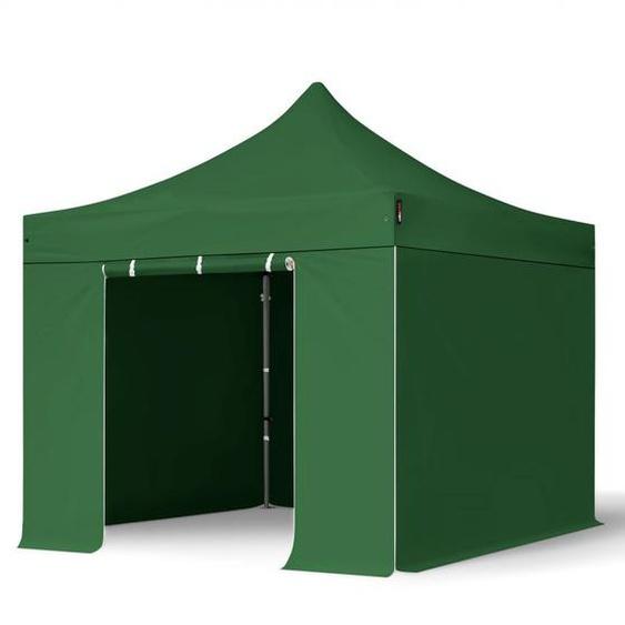 3x3 m Faltpavillon, PREMIUM Stahl 40mm, Seitenteile ohne Fenster, dunkelgrün