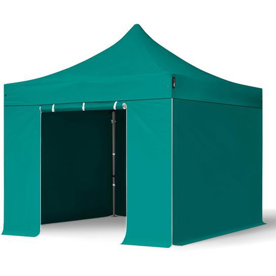 3x3 m Faltpavillon, PREMIUM Stahl 40mm, Seitenteile ohne Fenster, petrol