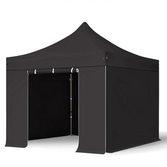 3x3 m Faltpavillon, PREMIUM Stahl 40mm, Seitenteile ohne Fenster, schwarz
