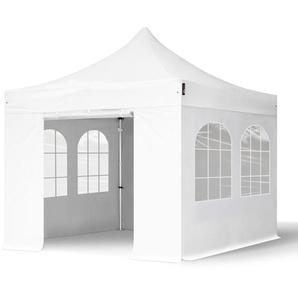 3x3 m Faltpavillon PROFESSIONAL Alu 40 mm, feuersicher, Seitenteile mit Rundbogenfenstern, weiß