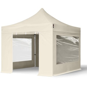 3x3 m Faltpavillon PROFESSIONAL Alu 40 mm, Seitenteile mit Panoramafenstern, creme