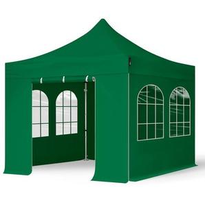 3x3 m Faltpavillon PROFESSIONAL Alu 40 mm, Seitenteile mit Rundbogenfenstern, dunkelgrün