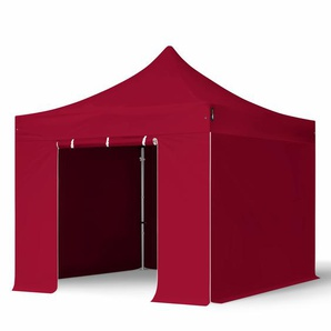 3x3 m Faltpavillon PROFESSIONAL Alu 40 mm, Seitenteile ohne Fenster, rot