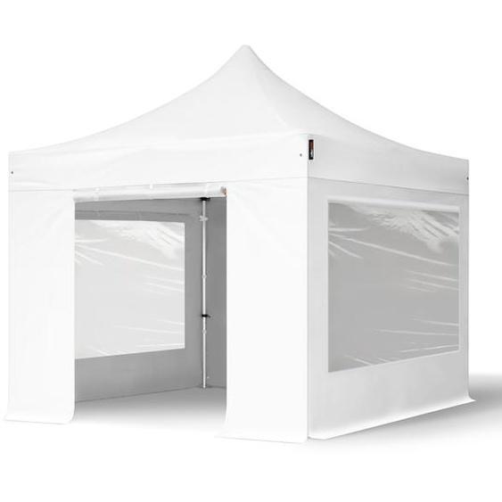 3x3 m Faltpavillon, PROFESSIONAL Alu 40mm, feuersicher, Seitenteile mit Panoramafenstern, weiß