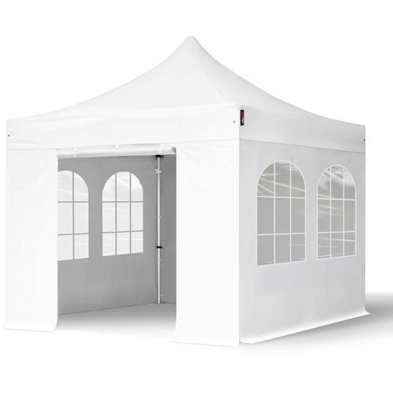 3x3 m Faltpavillon, PROFESSIONAL Alu 40mm, feuersicher, Seitenteile mit Rechteckfenstern, weiß