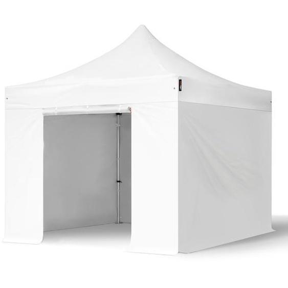 3x3 m Faltpavillon, PROFESSIONAL Alu 40mm, feuersicher, Seitenteile ohne Fenster, weiß