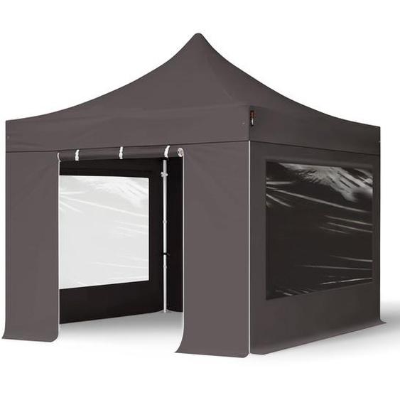 3x3 m Faltpavillon PROFESSIONAL Alu 40mm, Seitenteile mit Panoramafenstern, dunkelgrau
