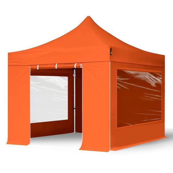 3x3 m Faltpavillon PROFESSIONAL Alu 40mm, Seitenteile mit Panoramafenstern, orange